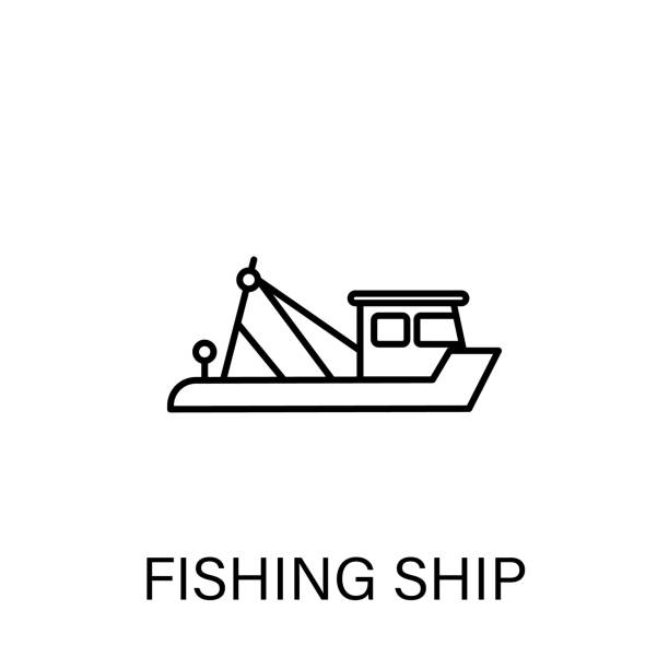 ilustrações de stock, clip art, desenhos animados e ícones de fishing ship outline icon. signs and symbols can be used for web, logo, mobile app, ui, ux - fishing boat
