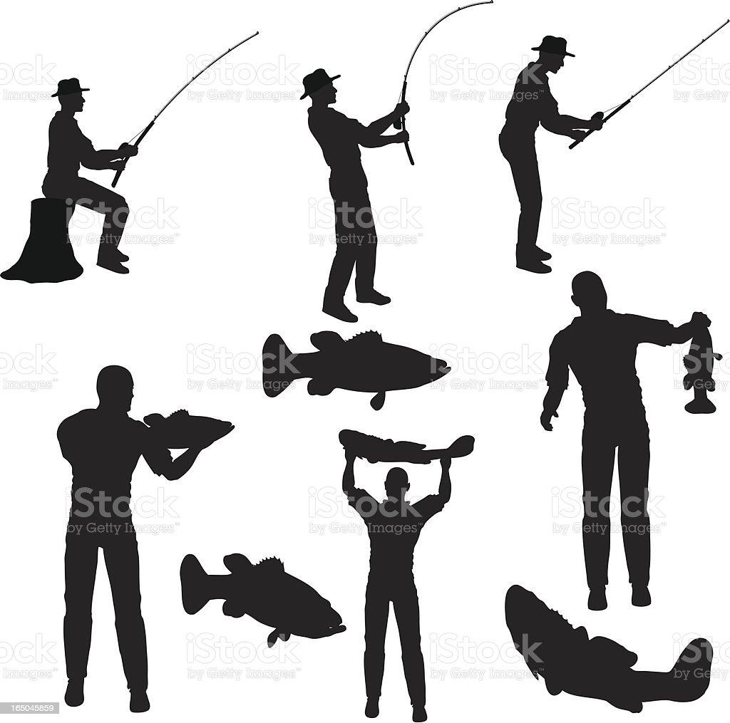 Fishing Silhouette Collection (vector+jpg) vector art illustration