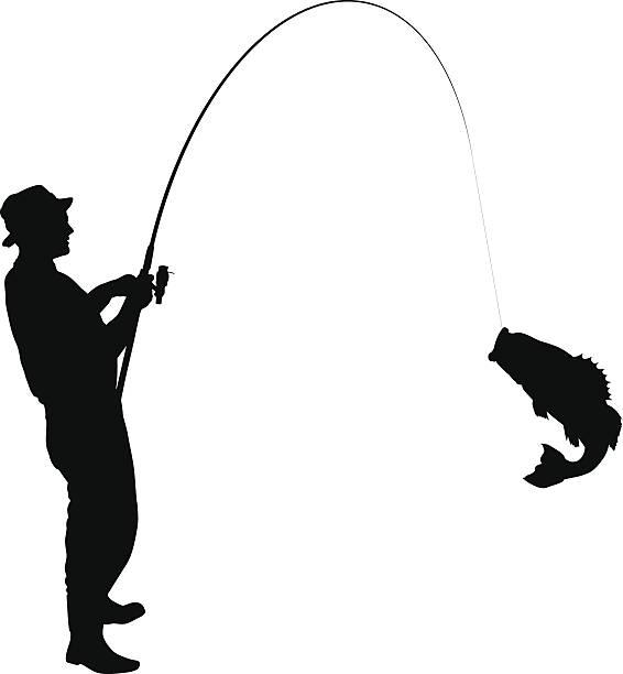 Fishing Silhouette Fisherman caught a fish silhouette fishing reel stock illustrations