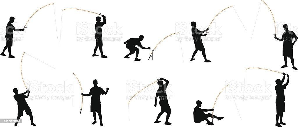 fishing silhouettes vector art illustration