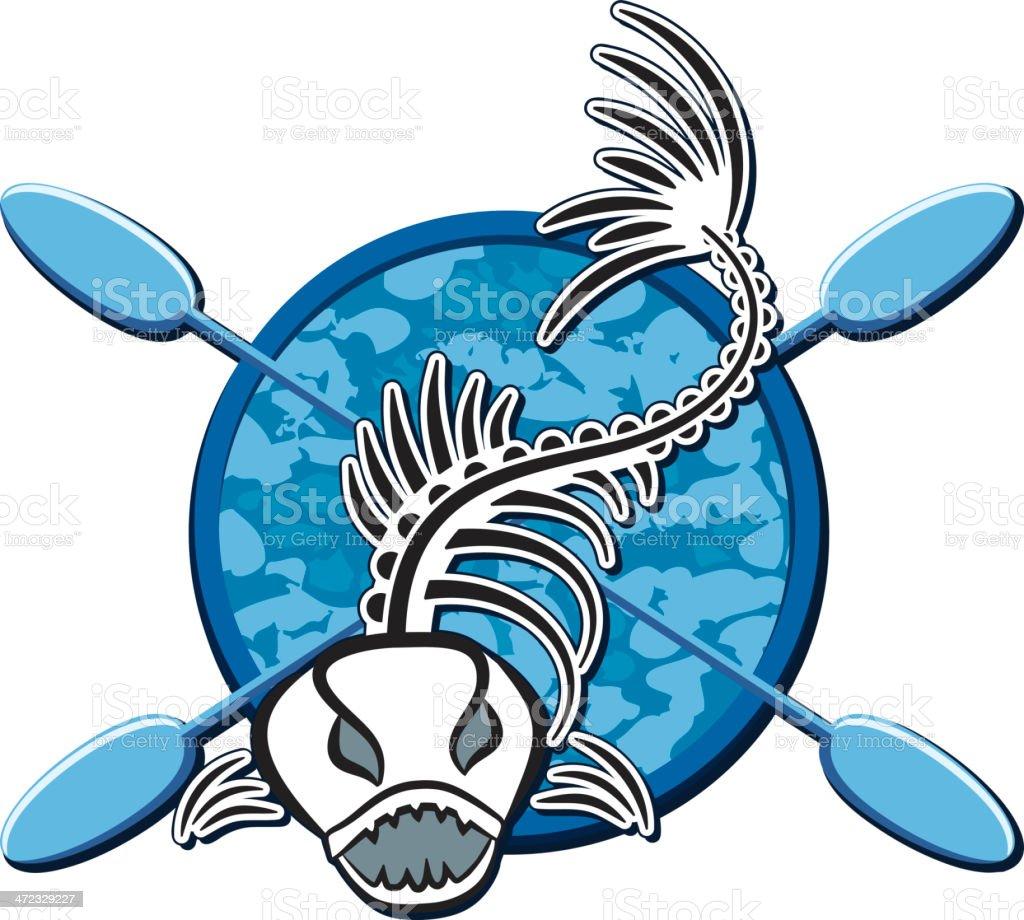 Fishing Skeleton with Oars vector art illustration