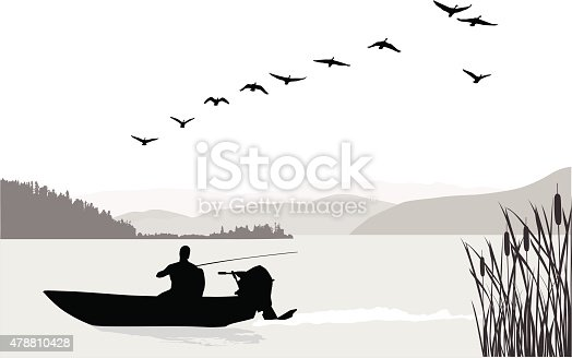A vector silhouette illustration of a man fishing in in a lake between mounatin ranges.  Geese fly overhead.