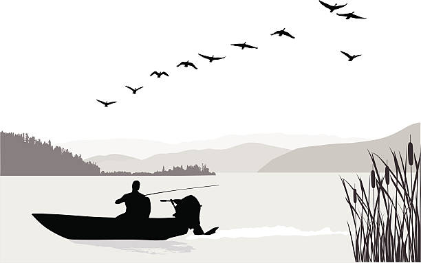 Fishing Solo A vector silhouette illustration of a man fishing in in a lake between mounatin ranges.  Geese fly overhead. goose bird stock illustrations