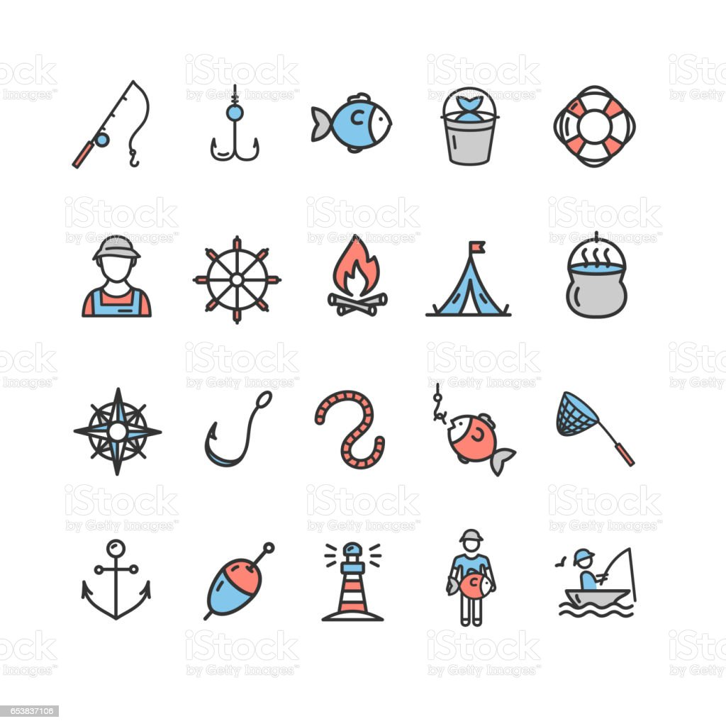 Fishing Sport and Leisure Color Icon Thin Line Set. Vector vector art illustration