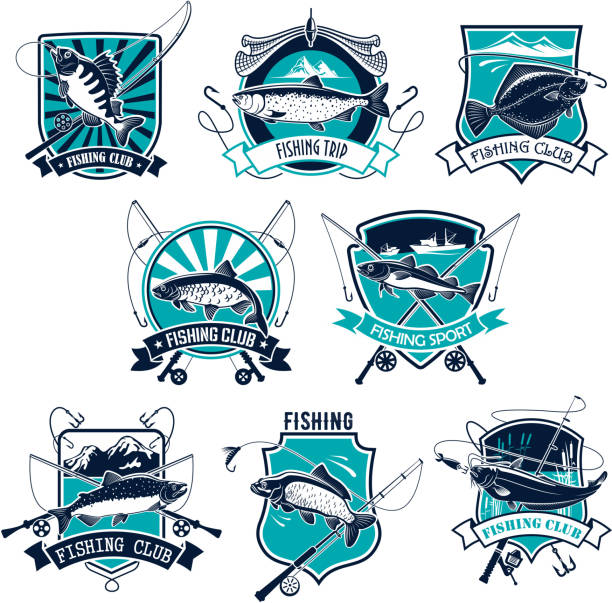 fishing sport badge set design with fish and rod - rybactwo stock illustrations
