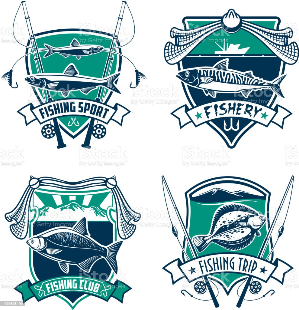 Fishing sport club heraldic badge set design vector art illustration