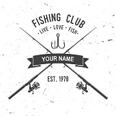 Fishing club. Live, love, fish. Vector illustration. Concept for shirt or icon, print, stamp or tee. Vintage typography design with fish rod and hook silhouette.