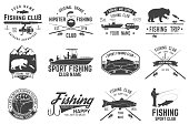 Fishing club. Vector illustration. Concept for shirt or icon, print, stamp or tee. Vintage typography design with fish rod silhouette.