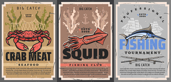 Fishing sport crab, squid and marlin fish