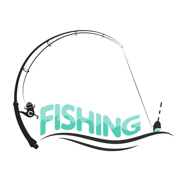 Fishing sport design Fishing rod and float on the wave symbol for fishing fishing line stock illustrations