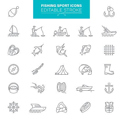 Fisherman, Fish, Equipment , Outline , Editable Icon Set