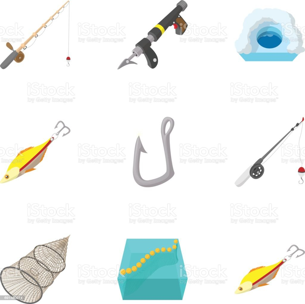 Fishing sport icons set, cartoon style vector art illustration