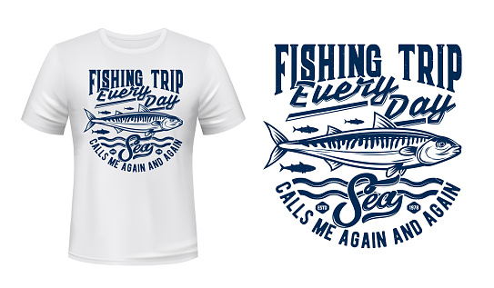 Fishing sport t-shirt print with mackerels shoal