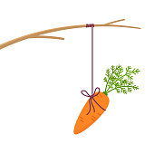 Fishing stick with hanging carrot