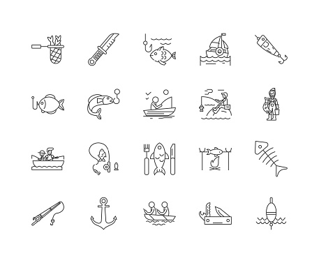 Fishing tackle line icons, signs, vector set, outline illustration concept