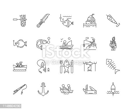 Fishing tackle line icons, linear signs, vector set, outline concept illustration