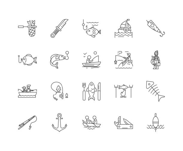Fishing tackle line icons, signs, vector set, outline illustration concept Fishing tackle line icons, linear signs, vector set, outline concept illustration freshwater fishing stock illustrations