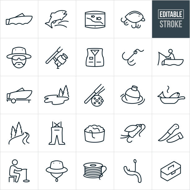 Fishing Thin Line Icons - Ediatable Stroke A set of fishing icons that include editable strokes or outlines using the EPS vector file. The icons include a fishing boat, fish, fish finder, lures, fisherman, fishing reel and rod, fishing jacket, hook, fisherman fishing, lake, fly rod, fishing bubble, fish cooking, river, chest waders, worms, fishing fly, fillet knife, ice fishing, fisherman's hat, fishing line and tackle box. fishing line stock illustrations