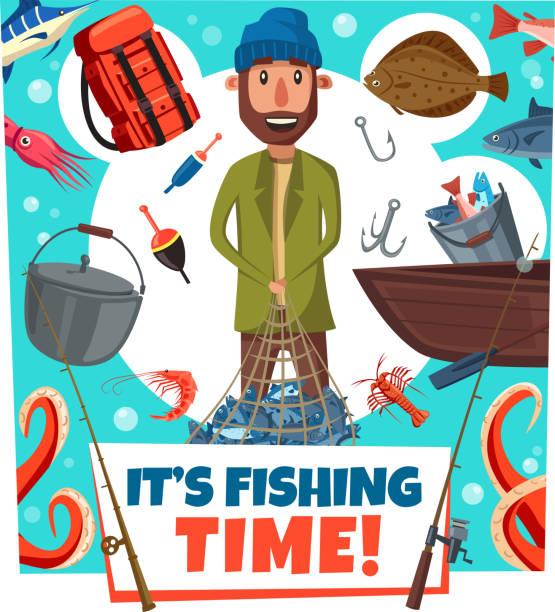 angeln mal fisher mann köder und zweikämpfe, cartoon - seehecht stock-grafiken, -clipart, -cartoons und -symbole