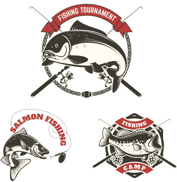 fishing tournament labels. Carp fishing, salmon fishing vector art illustration