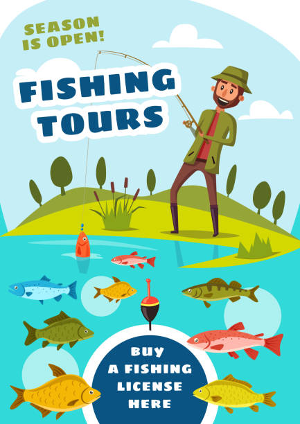 fishing tours for fishers poster with fish in lake - rybactwo stock illustrations