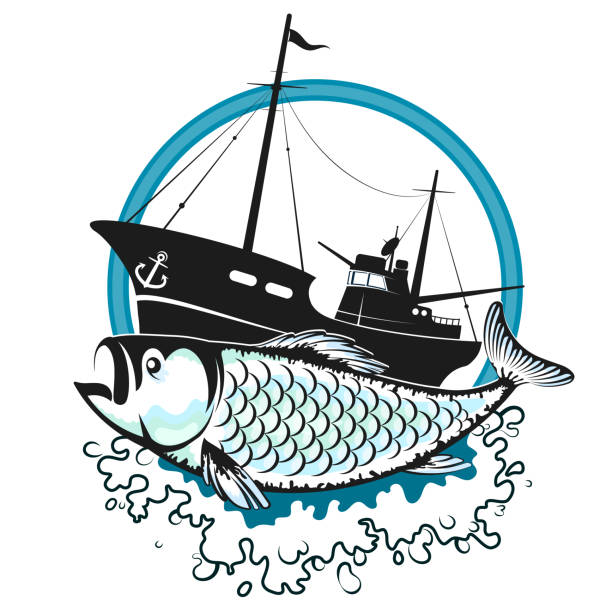 Fishing trawler and fish Fishing trawler on the waves and fish silhouette seine river stock illustrations