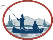 Small illustration of a canoe fishing trip.