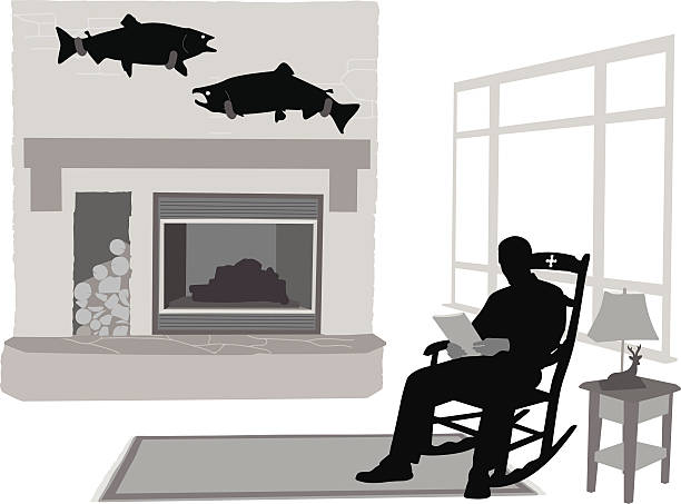 fishing trophies - old man in rocking chair cartoon stock illustrations, clip art, cartoons, & icons