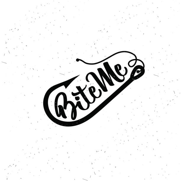 ilustraciones, imágenes clip art, dibujos animados e iconos de stock de tipografía de la pesca. mordedura de mí. - pesca