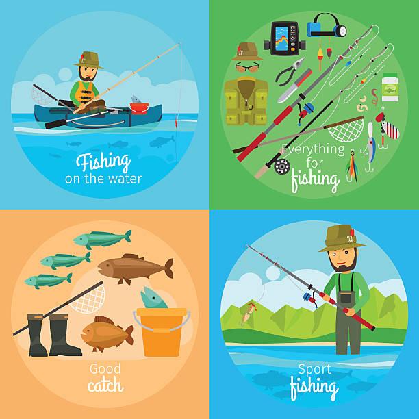 fishing vector concept - angelurlaub stock-grafiken, -clipart, -cartoons und -symbole