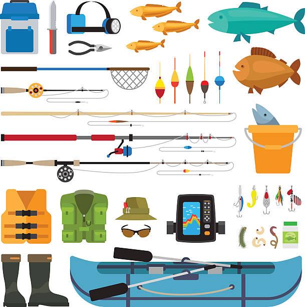 fishing vector flat icons - angelurlaub stock-grafiken, -clipart, -cartoons und -symbole