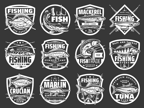 Fishing vector icons with fishes vintage label set