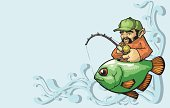 Vector illustration of a fisherman riding around in the fish that he has caught. Funny,humorous, and creative. Enjoy
