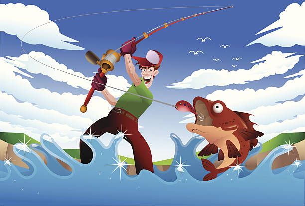 fishing - old man standing background stock illustrations, clip art, cartoons, & icons