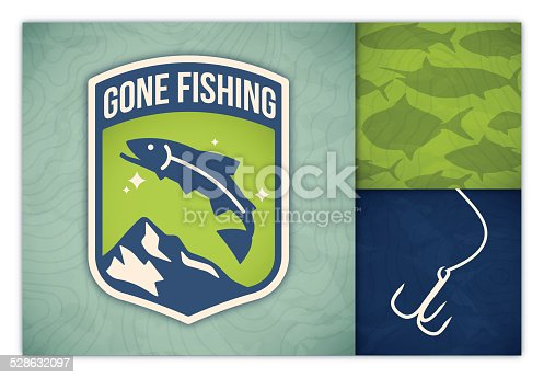 Gone fishing badge and fish symbol background. EPS 10 file. Transparency effects used on highlight elements.