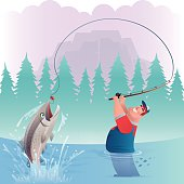 vector illustration of happy fat man catching salmon…