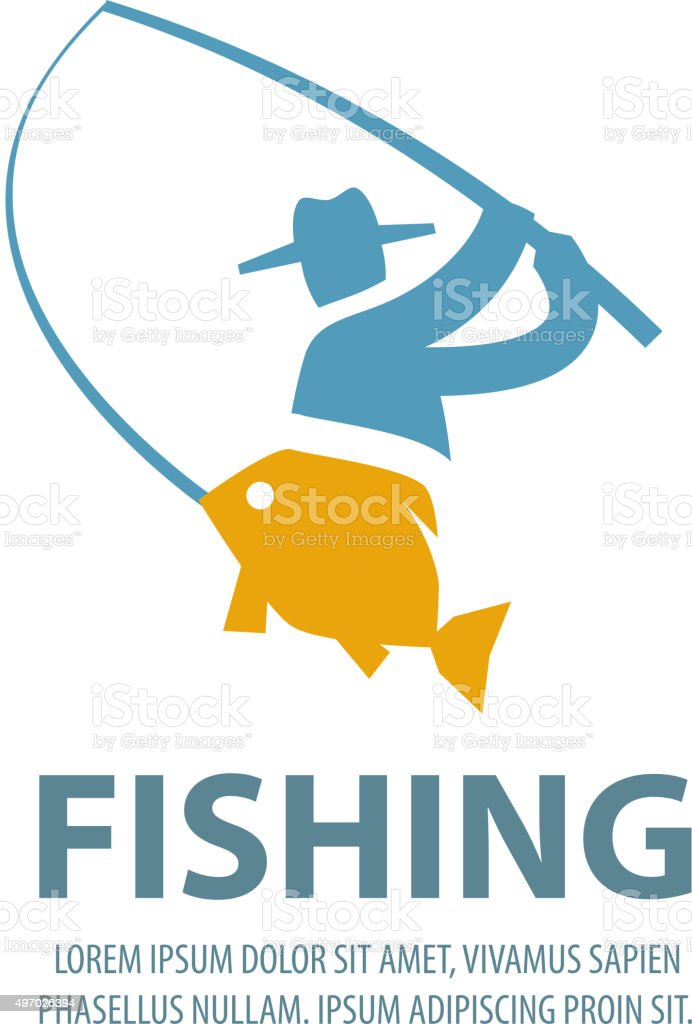 fishing vector logo design template. fisherman, fisher, fish or angling vector art illustration