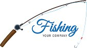 fishing vector logo design template. fishing rod fisher, fish or angling, sport icons