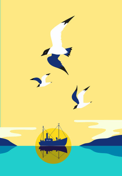 Fishing vessel icon Ship silhouette in ocean. Fishermen boat on water. Industrial vessel. Seagulls fly in sky. Pop art style. Flat simplicity minimalism design. Vector illustration waterfront stock illustrations