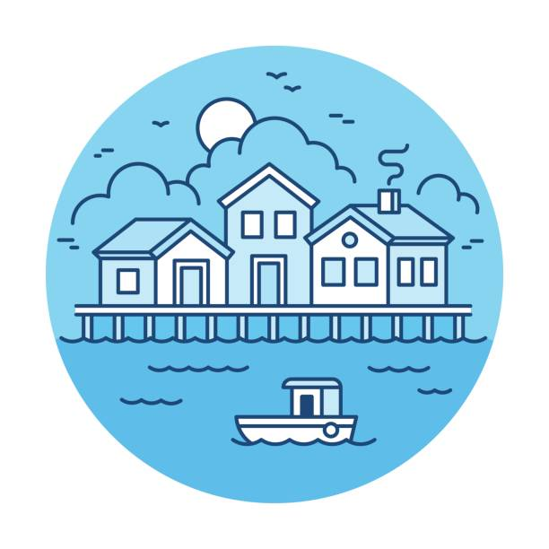 Fishing village landscape Fisherman village landscape with wooden houses and fishing boat. Simple modern flat line style vector illustration. waterfront stock illustrations