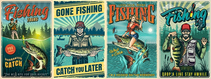Fishing vintage posters