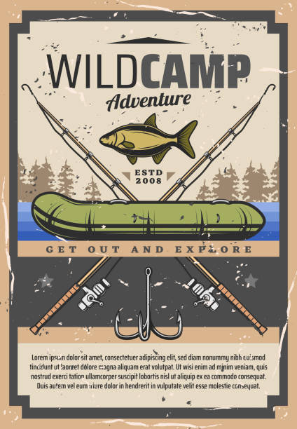 stockillustraties, clipart, cartoons en iconen met fishing wild camp avontuur, fisher equipment - wildplassen