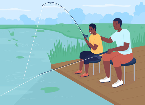 Fishing with dad flat color vector illustration