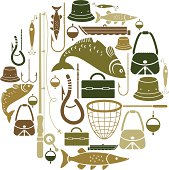 Fishing-themed set of vector icons
