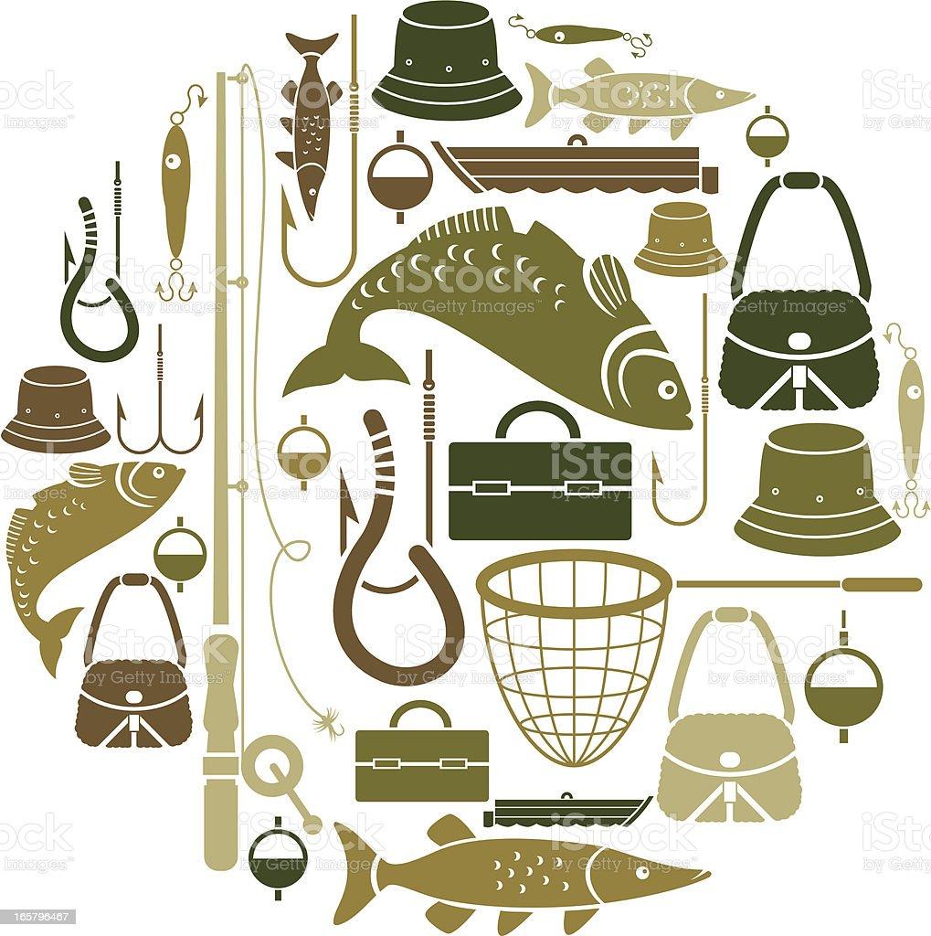 Fishing-themed set of vector icons vector art illustration