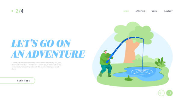 ilustrações de stock, clip art, desenhos animados e ícones de fishman have good catch landing page template. fisherman character with rod catching fish in pond. fishing outdoor relaxing summertime hobby, leisure, active time, camping. cartoon vector illustration - fishman