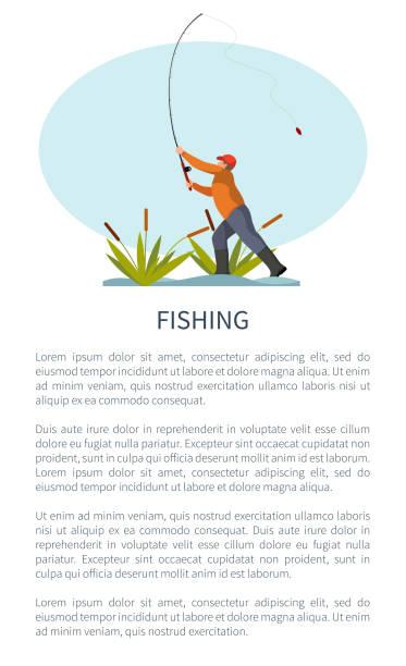 ilustrações de stock, clip art, desenhos animados e ícones de fishman standing on riverside and throwing rod - aquacultura