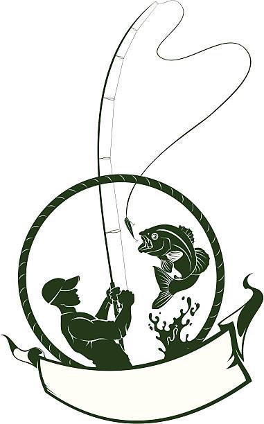 fishman mit bass und banner - angelurlaub stock-grafiken, -clipart, -cartoons und -symbole