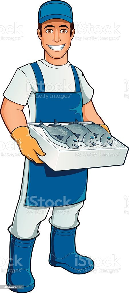 Fishmonger vector art illustration