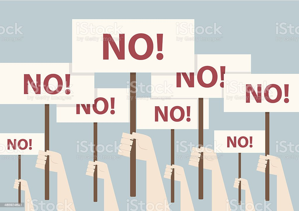 Fist and placard, Protest concept vector art illustration